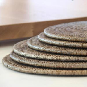 Solid Rattan Round Placemats 30cm | Set of 6 | Grey Wash