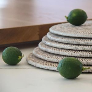 Solid Rattan Round Placemats 30cm | Set of 6 | White Wash