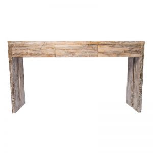 Solid Recycled Teak 3 Drawer Console