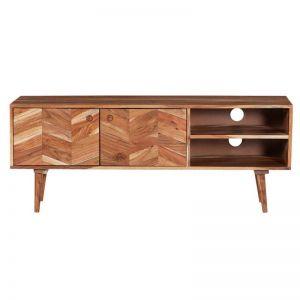 Solid Wood Entertainment Unit | 2 Door | 130cm | Textured Finish