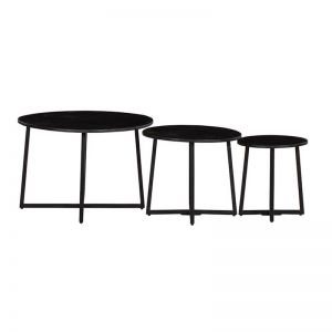 Solid Wood Nested Coffee Table | Set of 3 | Black