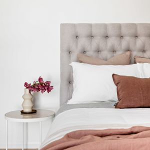 Sophia Bedhead in Warwick fabric by BedsAhead   Custom Made   All Sizes & Various Colours