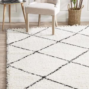 Souk Moroccan Rug | Off White & Charcoal Grey