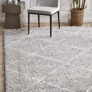 Souk Moroccan Rug | Silver & Off White