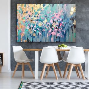 Spring Begins | Oil Paint and Gold leaf Artwork on Linen by Lou Sheldon