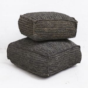 Square Seagrass Floor Cushions - Black
