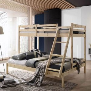 Stacy Kid's Triple Size Bunk Bed Solid Timber Wooden Frame | Various Colours