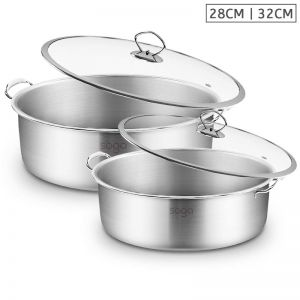 Stainless Steel 28cm 32cm Casserole With Lid Induction Cookware