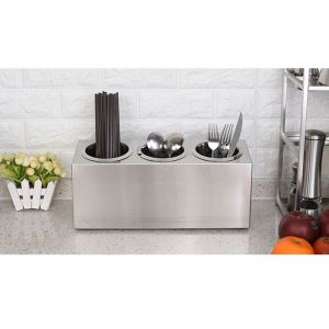 Stainless Steel Conical Utensil & Cutlery Holder | 3 Holes
