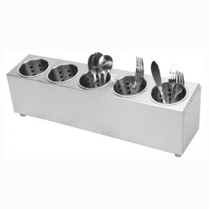 Stainless Steel Conical Utensil & Cutlery Holder | 5 Holes