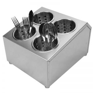 Stainless Steel Conical Utensil &Cutlery Holder | Square | 4 Holes