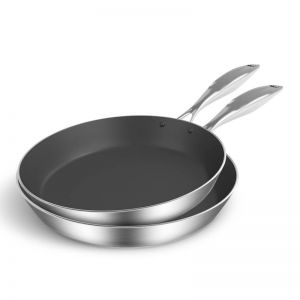 Stainless Steel Fry Pan | 20cm & 24cm | Non Stick Interior