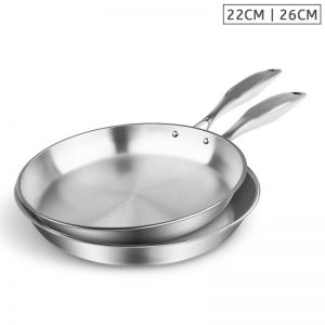 Stainless Steel Fry Pan | 22cm & 26cm | Top Grade Induction Cooking