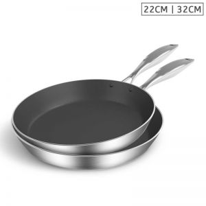 Stainless Steel Fry Pan   22cm & 32cm   Non Stick Interior