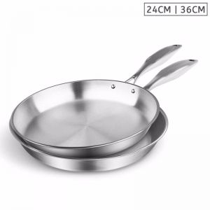 Stainless Steel Fry Pan | 24cm & 36cm | Top Grade Induction Cooking