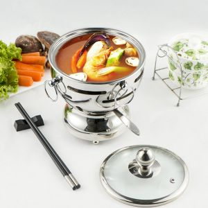 Stainless Steel Mini Asian Buffet Hot Pot Single Person Shabu Alcohol Stove Burner with Glass Lid