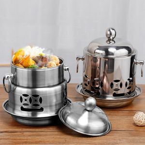 Stainless Steel Mini Asian Buffet Hot Pot Single Person Shabu Alcohol Stove Burner with Lid