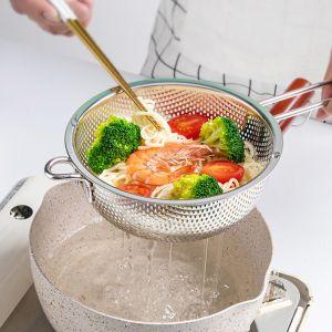 Stainless Steel Perforated Colander Fine Mesh Net Food Strainer Basket with Handle Skimmer Sieve Set