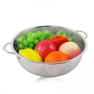 Stainless Steel Perforated Metal Colander Set Food Strainer Basket Mesh Net Bowl with 2 Handle