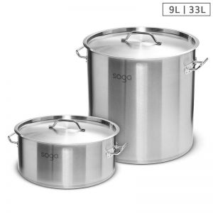 Stainless Steel Stockpots | 9L and 33L