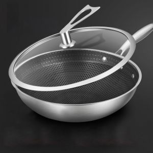 Stainless Steel Tri-Ply Fry Pan | 32cm | Textured Non Stick Interior Skillet | Glass Lid