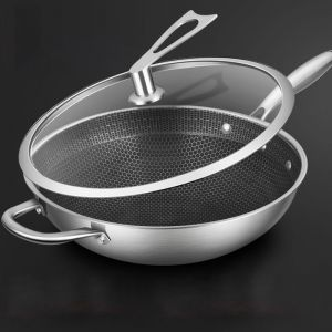 Stainless Steel Tri-Ply Fry Pan | 34cm | Textured Non Stick | With Glass Lid & Helper