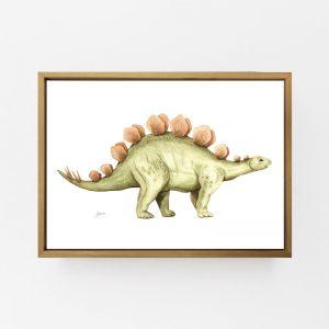 Stavros the Stegosaurus Dinosaur Wall Art Print by Pick a Pear   Canvas Wall Art