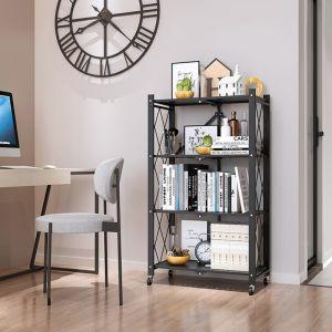 Steel Black Foldable Kitchen Cart | 4 Tier