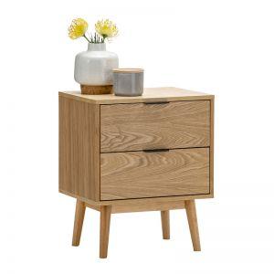 Stella 2 Drawer Bedside Table | Natural Oak