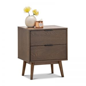 Stella 2 Drawer Bedside Table | Walnut