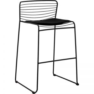 Stella Steel Bar Chair with Seat Pad | Black | Schots