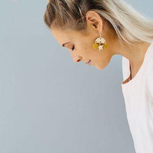 Stella Timber Earrings | Raw Star - Mustard Suede