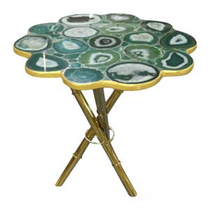 Strike Emerald Green Agate Stone End Table with Gold Metal Base