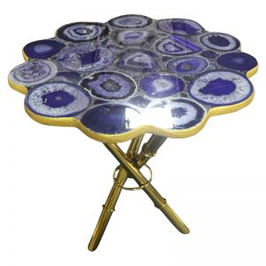 Strike Purple Agate End Table with Gold  Metal Frame