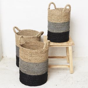 Striped Seagrass Laundry Basket
