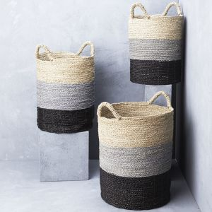 Striped Seagrass Laundry Basket l Pre Order