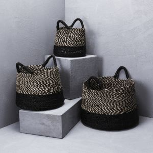 Striped Top with Contrast Base and Handles Basket