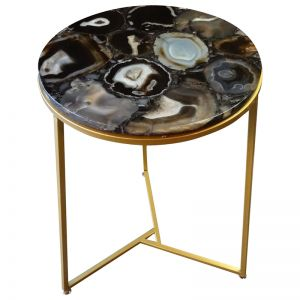 Sudoku Black Monochrome Agate Nestling Table Set with Gold Metal Frame