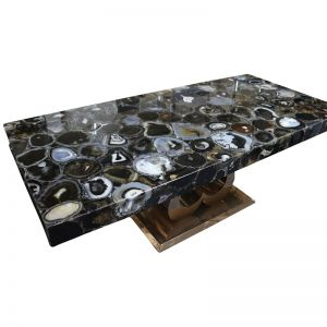 Sudoku Black Monochrome Agate Six Seat Dining Table with Gold Metal Base
