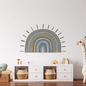 Sun Wall Decal   Blue and Orange   Ivory Ink Studio