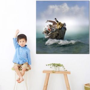 Sunny   Animals In A Boat   Canvas Print by Tusk Gallery