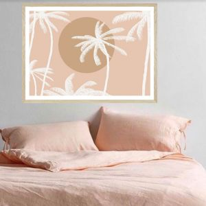 Sunset Palm Blush Landscape | Art Print