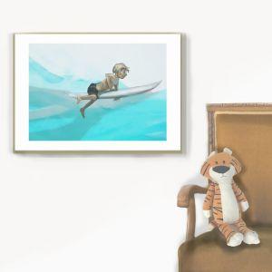 Surfer | Illustrated Art Print by Jane Stadermann