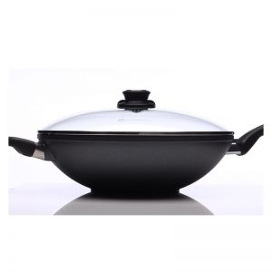 Swiss Diamond 5.2L Non Stick Wok with Vented Glass Lid and Stainless Steel Rack