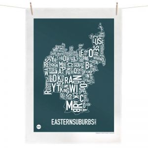 Sydney Eastern Suburbs Map | Tea Towel by Burbia