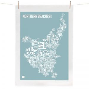 Sydney Northern Beaches Map | Tea Towel by Burbia