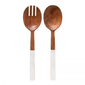 Sylvie Salad Servers | Natural & White