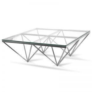 Tafari 1.05m Coffee Table | Glass Top | Silver Base