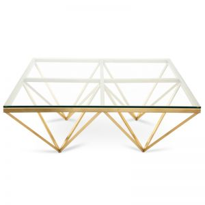 Tafari 1.05m Glass Coffee Table | Brushed Gold Base