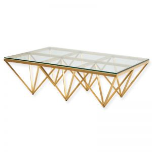 Tafari 1.2m Coffee Table - Glass Top | Brushed Gold Base | Interior Secrets